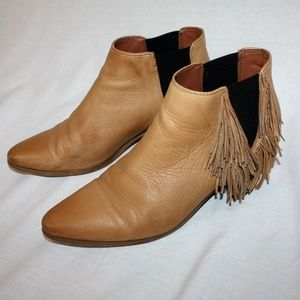 Tan Fringe Zara Leather Boots Booties 39